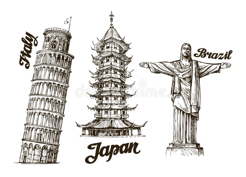 Travel. Hand drawn sketch Italy, Japan, Brazil. Vector illustration royalty free illustration