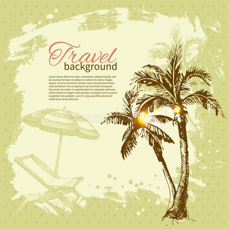 Travel hand drawn vintage tropical design. Splash blob retro background royalty free illustration