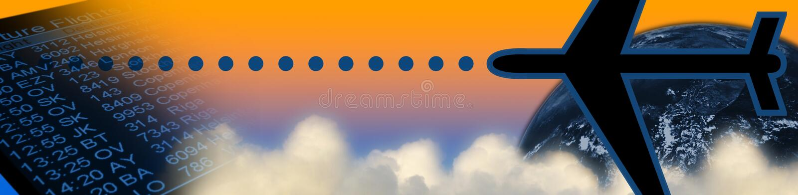 Travel header: orange. Business header: airport timetable, clouds, airplane, earth (NASA image