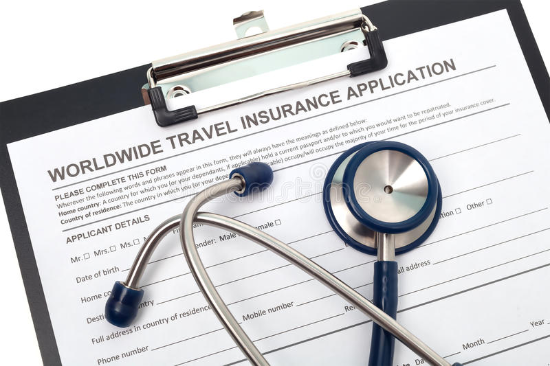 Travel health insurance. International travel medical insurance application with stethoscope stock photos