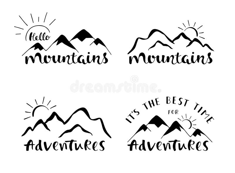 Mountains lettering design. Set of stylish outdoor illustration with hand drawn text. vector illustration