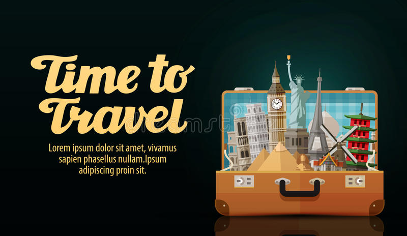 Travel. historic buildings countries of the world vector illustration