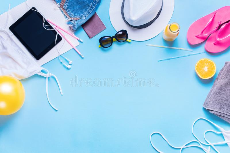Travel Holiday Concept Different Summer Things royalty free stock images
