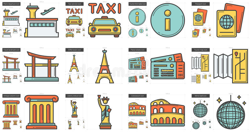 Travel and holiday line icon set. vector illustration