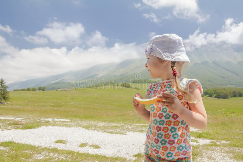 Travel holidays of little blonde girl in summer mountain valley stock photo