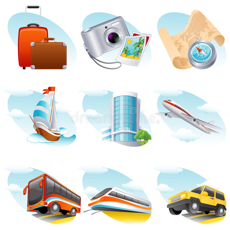 Travel icon. Vector illustration - travel icon set
