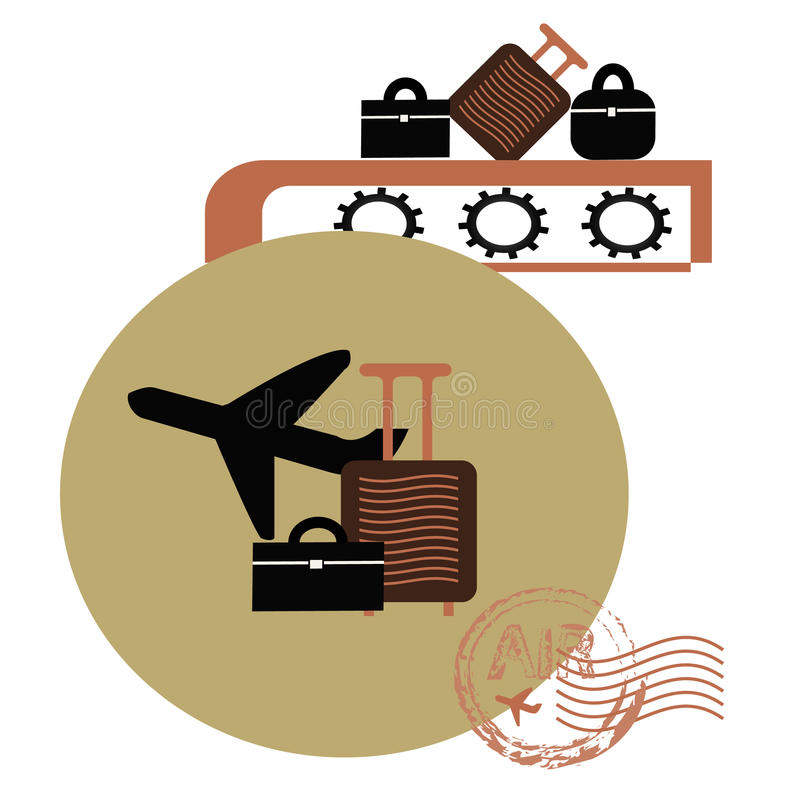 Travel icon. With plane and suitcase royalty free illustration