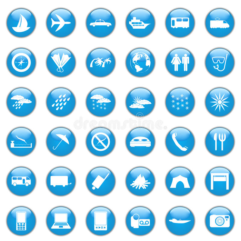 Download Travel icon set stock vector. Image of buttons, boat - 18463249