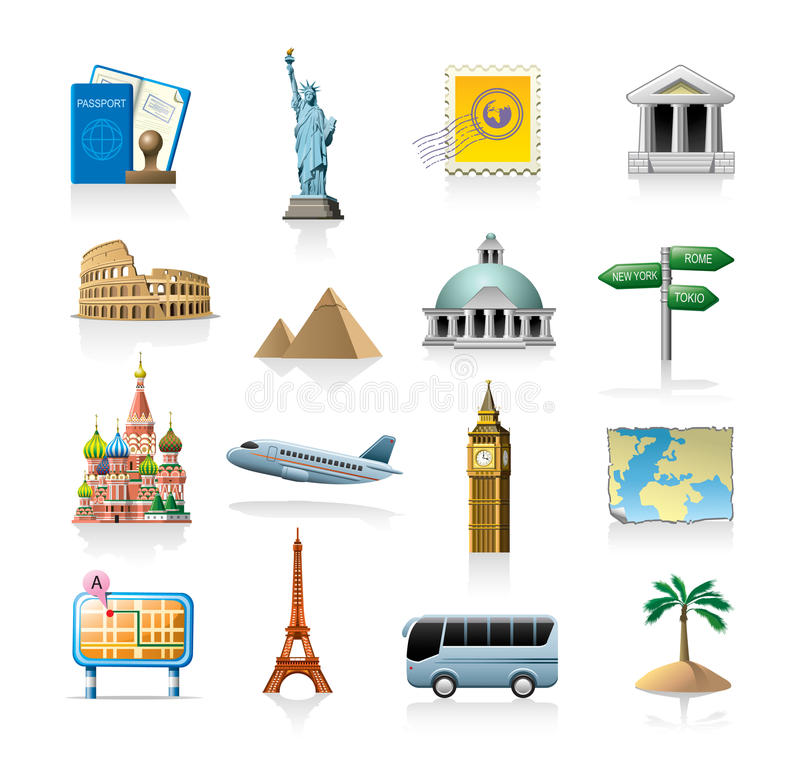 Travel icon set. Travel related vector icon set isolated on white