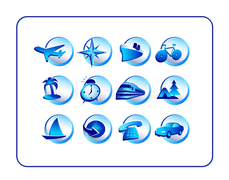 Download Travel Icon Set - Blue stock illustration. Image of receiver - 2169734