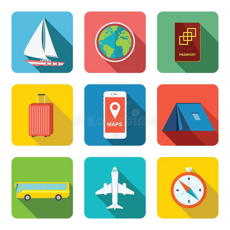 Travel icon set. It contains boat, globe, passport, luggage, mobile map, tent, yurt, bus, plane, and compass. All these flat icons stock photos