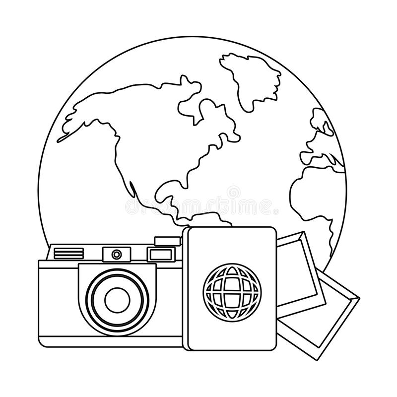 Travel icon set design. Trip vacation tourism journey tourist destination and holiday theme Vector illustration royalty free illustration