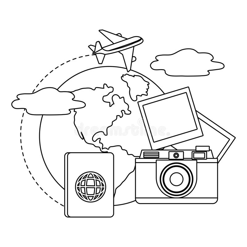 Travel icon set design. Trip vacation tourism journey tourist destination and holiday theme Vector illustration stock illustration