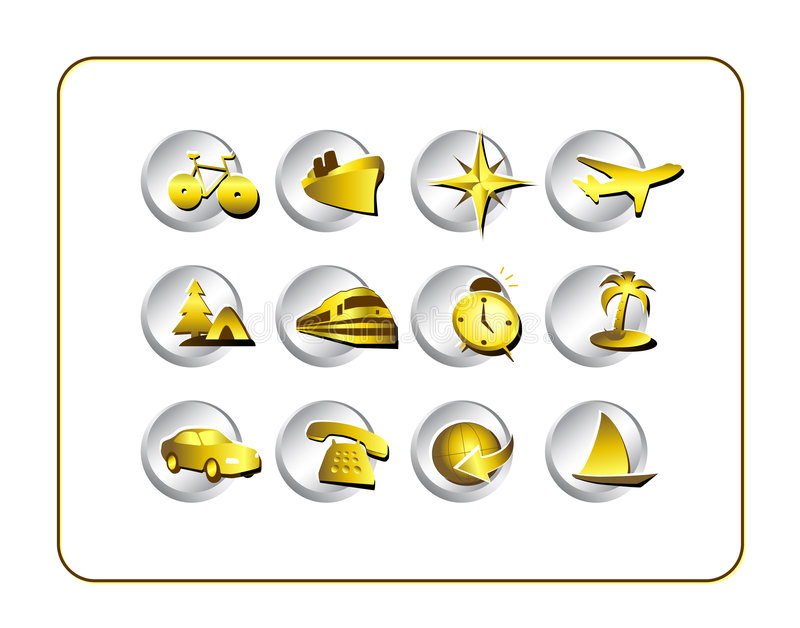Download Travel Icon Set: Gold-Silver Stock Illustration - Illustration: 2634335