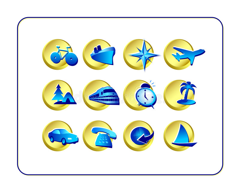 Travel Icon Set: Golden-Blue