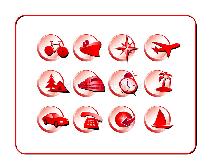 Travel Icon Set: Red-Blue