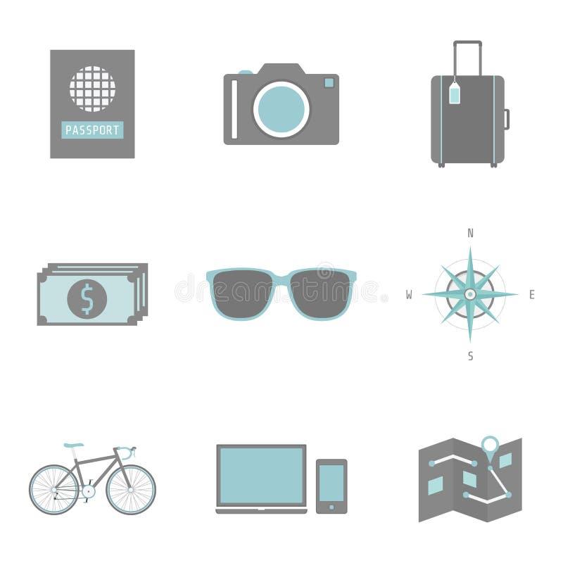 Travel icon. Set of traveller's equipment icon, flat style stock illustration