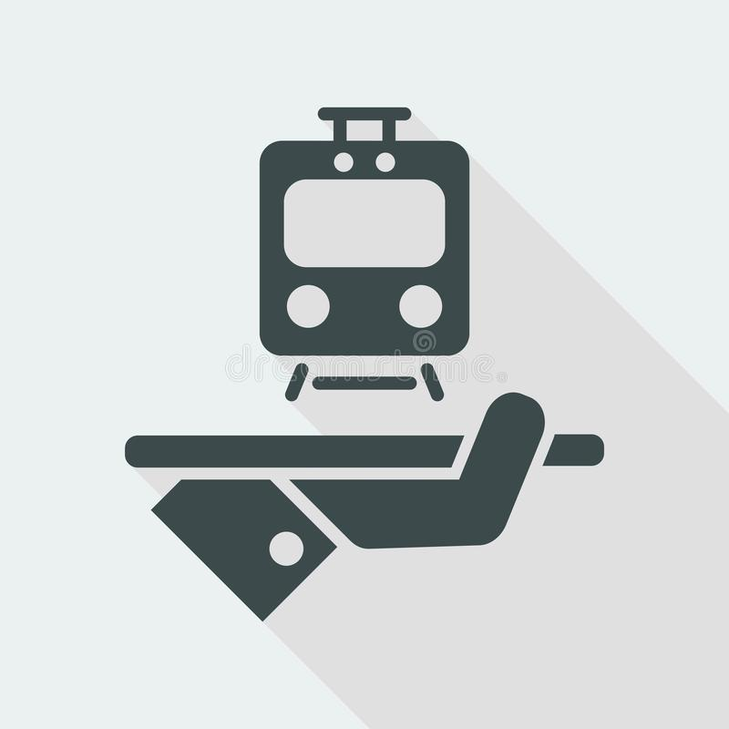 Travel icon. Train service. Flat and isolated vector eps illustration icon with minimal design and long shadow stock illustration