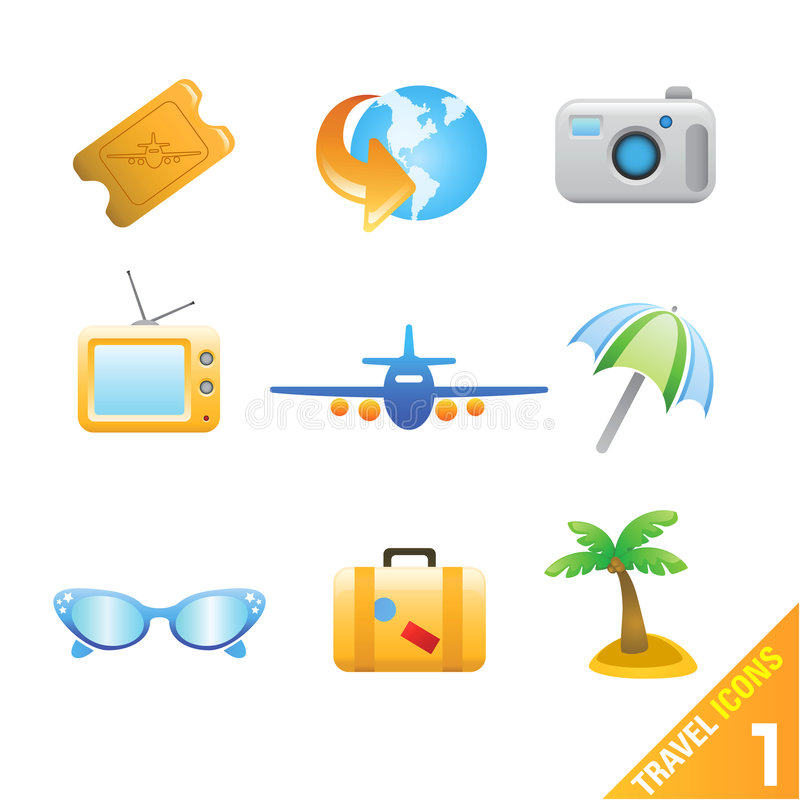 Download Travel icons 1 stock vector. Image of site, beach, vacation - 5242272