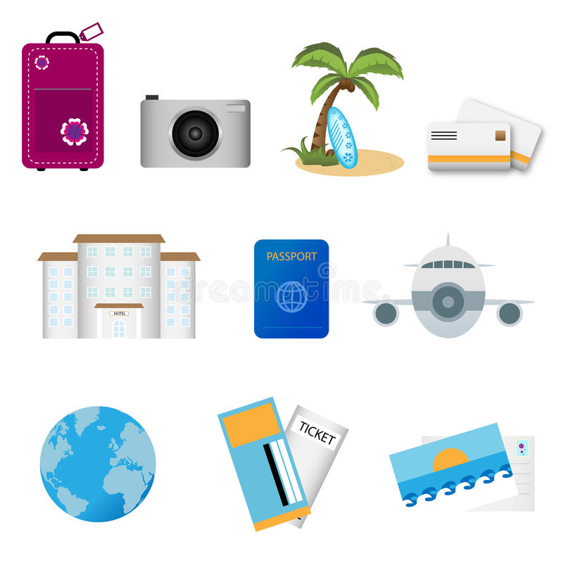Travel icons. Set of ten travel icons isolated on white background.EPS file available