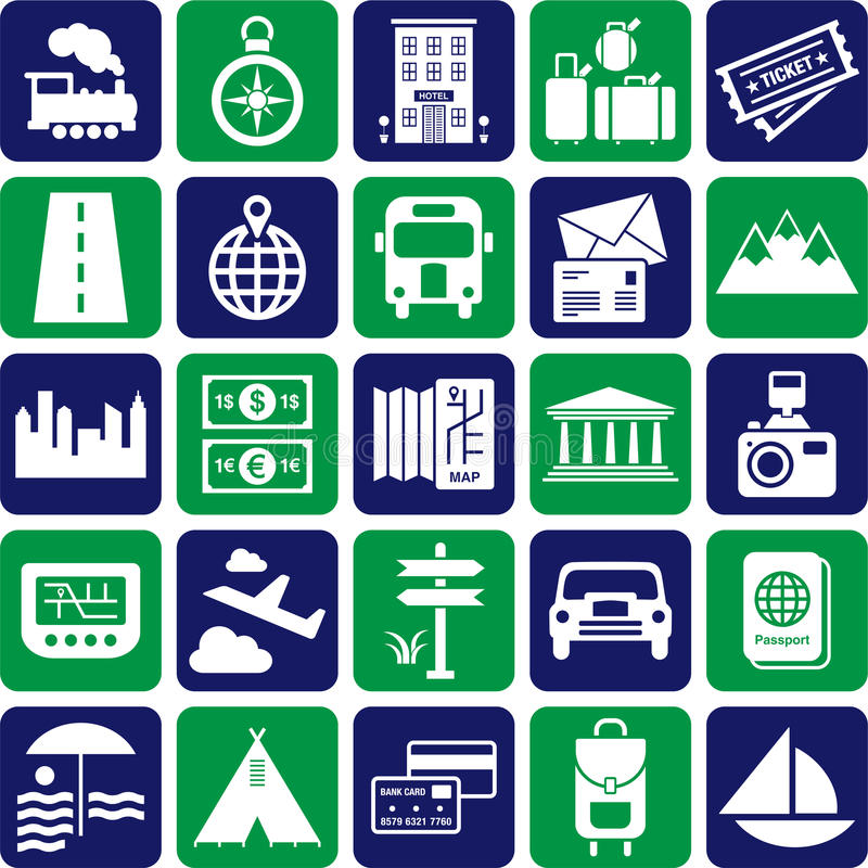 Download Travel icons stock vector. Image of road, highway, boat - 26813245