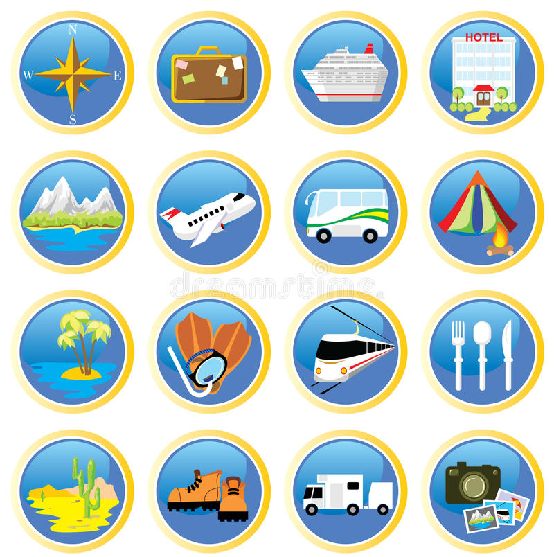Download Travel-icons stock vector. Image of flippers, icons, boat - 9941734