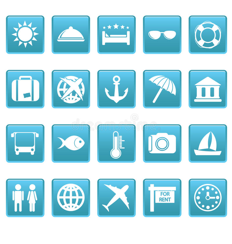 Travel Icons On Blue Squares Stock Photography