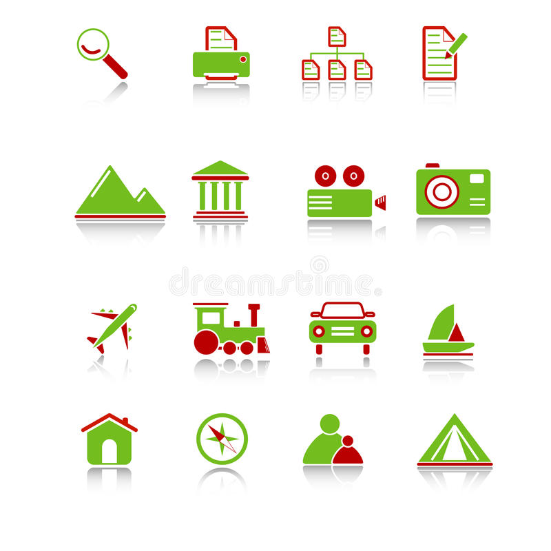 Travel Icons - Green-Red Series stock illustration