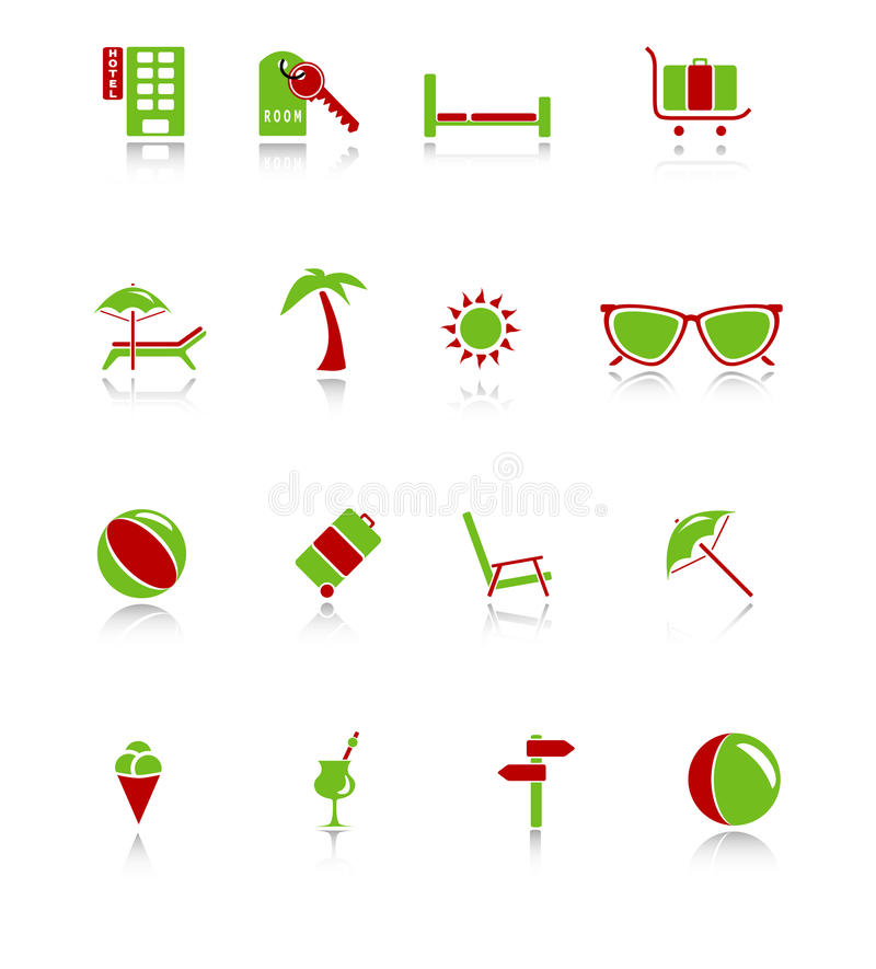 Download Travel Icons - Green-Red Series Stock Vector - Image: 9840885