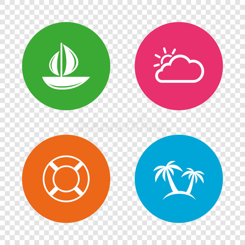 Travel Icons Sail Boat With Lifebuoy Signs Stock Vector