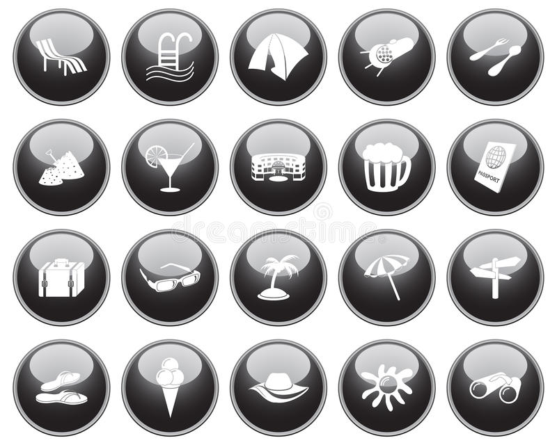 Download Travel icons set stock vector. Image of buttons, beach - 11594084