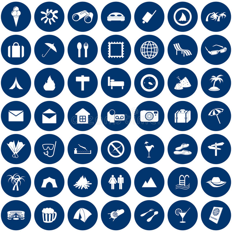Travel icons set. Travel set of different vector web icons