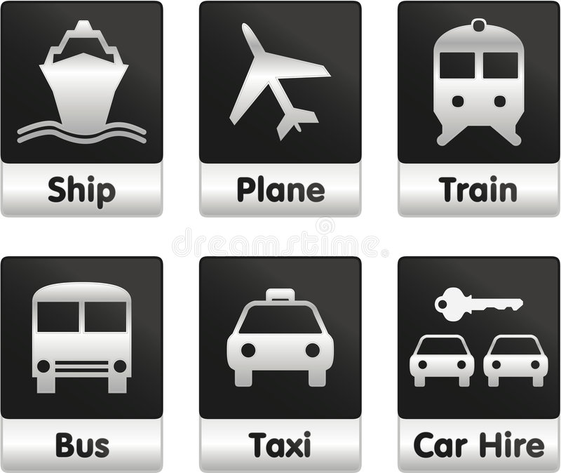Travel icons set. Set of 6 Travel oriented signs / Ship, plane, train, bus, taxi, car hire stock illustration