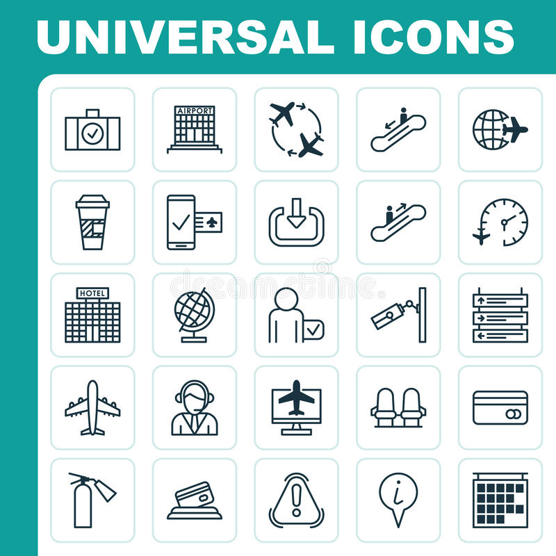 Travel Icons Set. Collection Of Takeaway Coffee, Resort Development, Enter And Other Elements. Also Includes Symbols royalty free illustration