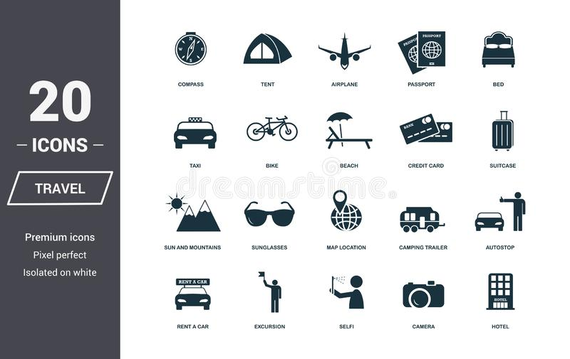 Travel icons set. Premium quality symbol collection. Honeymoon icon set simple elements. Ready to use in web design, apps, softwar. E, print royalty free illustration