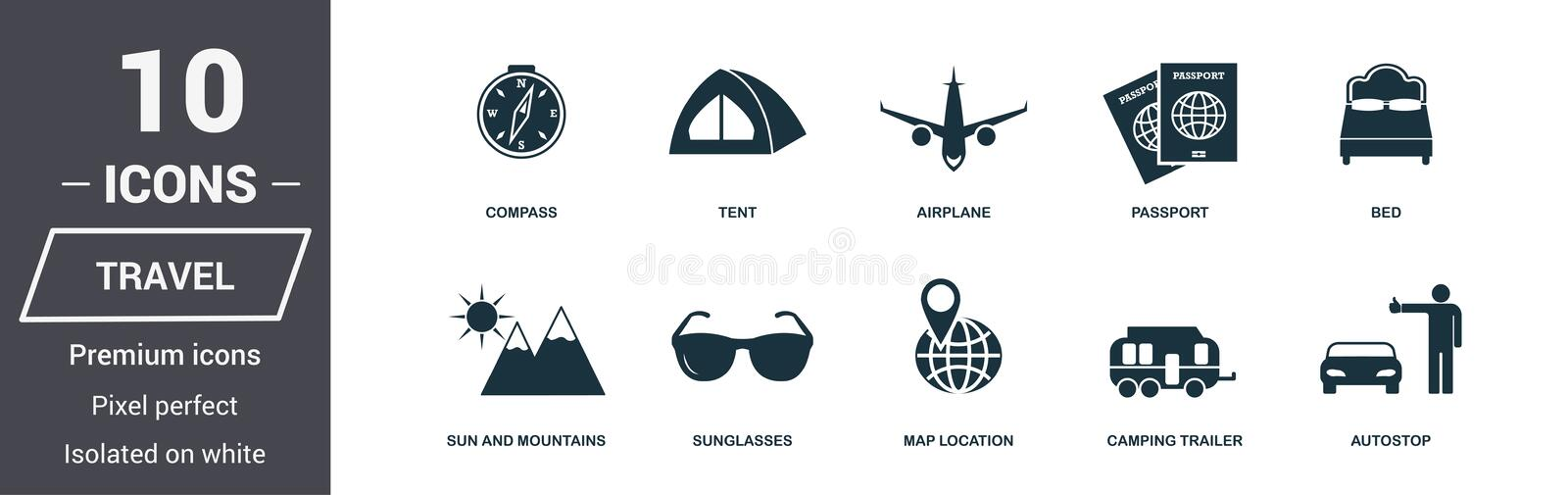 Travel icons set. Premium quality symbol collection. Honeymoon icon set simple elements. Ready to use in web design, apps, softwar. E, print stock illustration