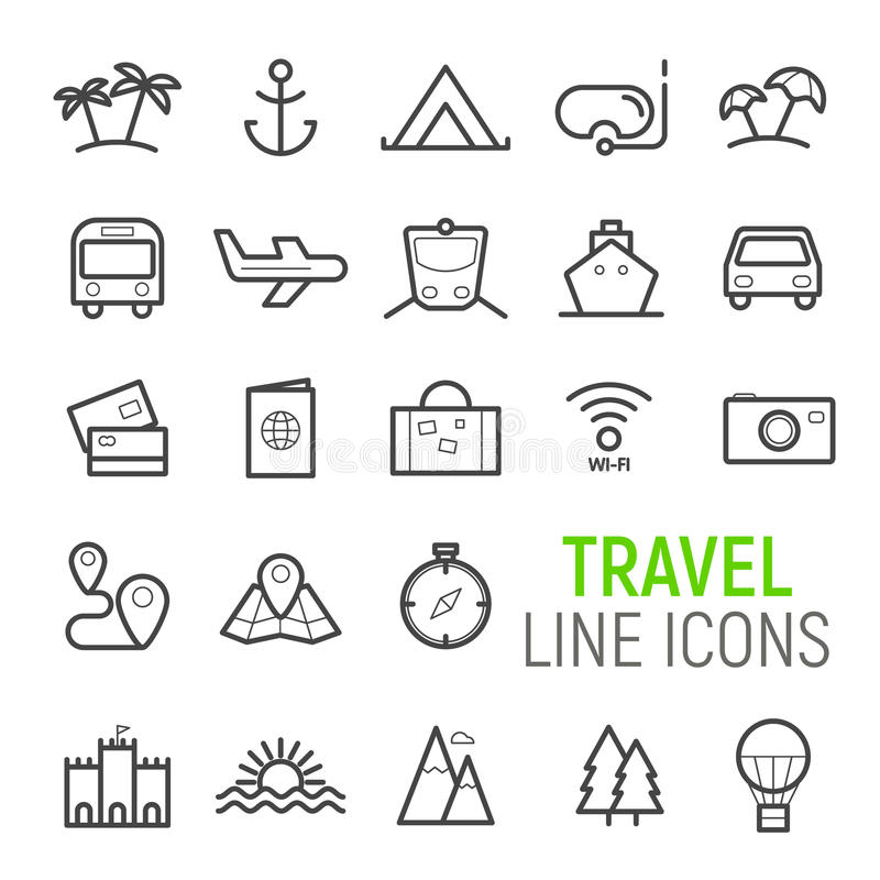 Travel icons set. Vector flat line illustrations. royalty free stock photos