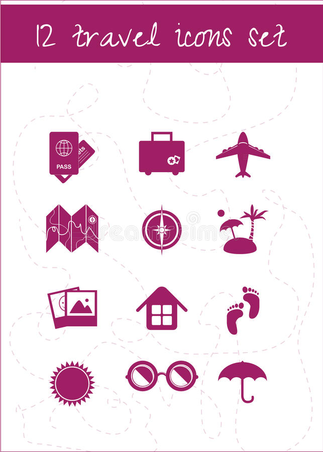 Travel icons set. Set of 12 vector travel icons on neutral background royalty free illustration