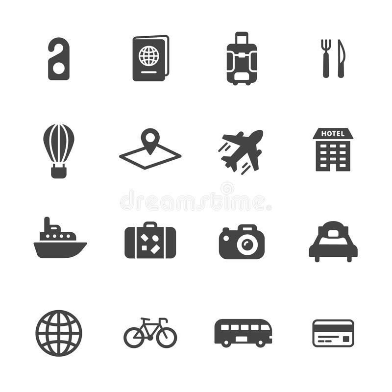 Travel Icons. Travel and tourism icons. Simple flat vector icons set on white background royalty free illustration