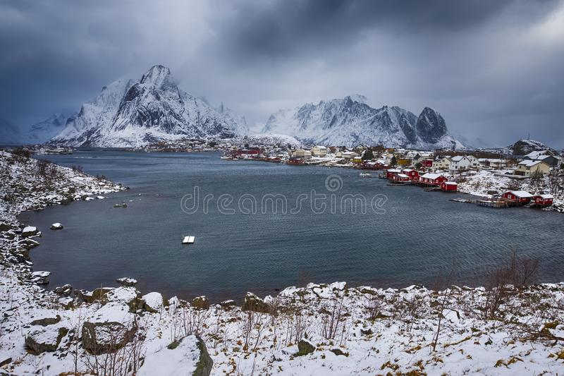 Travel ideas. Little Fishing Village Hamnoy and Sakrisoy. On Lofoten in Norway During Sunrise in Early Spring Time. Horizontal image stock photo