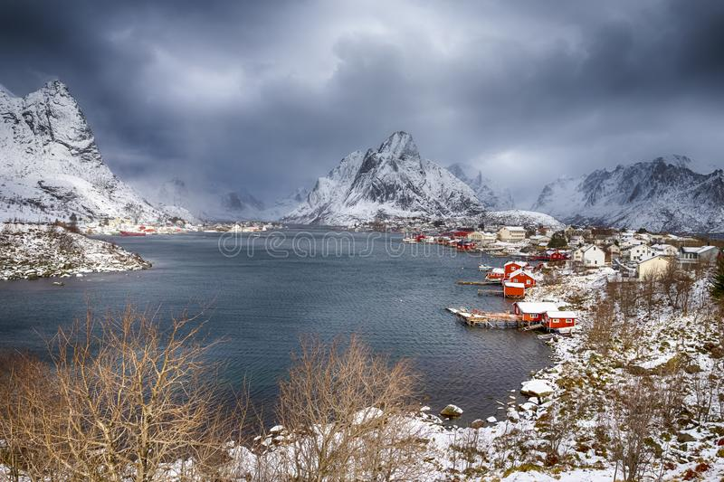 Travel ideas. Little Fishing Village Hamnoy and Sakrisoy. On Lofoten in Norway During Sunrise in Early Spring Time. Horizontal Shot stock photography