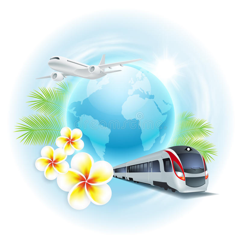 Travel illustration with airplane, train, globe. vector illustration