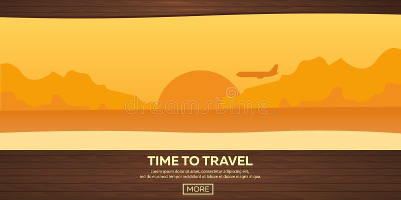 Travel illustration. Flat . Time to travel. Sunset. Airplane. Beach. Sea. Travel illustration. Flat . Time to travel. Sunset. Airplane Beach Sea vector illustration