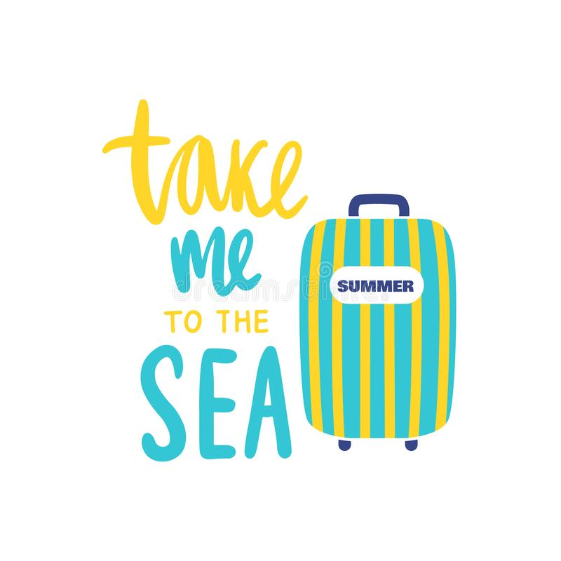 Travel illustration with suitcase and lettering. Cartoon style. royalty free illustration