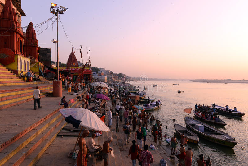 Travel India. Benaras, is considered as the cultural capital of the oldest and holiest cities in India and home to the most famous ghats (steps leading down to royalty free stock photo