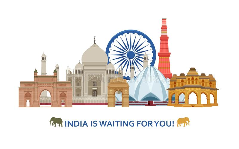 Travel in India concept. Indian most famous sights set. Architectural buildings. Famous tourist attractions. Vector illustration royalty free illustration