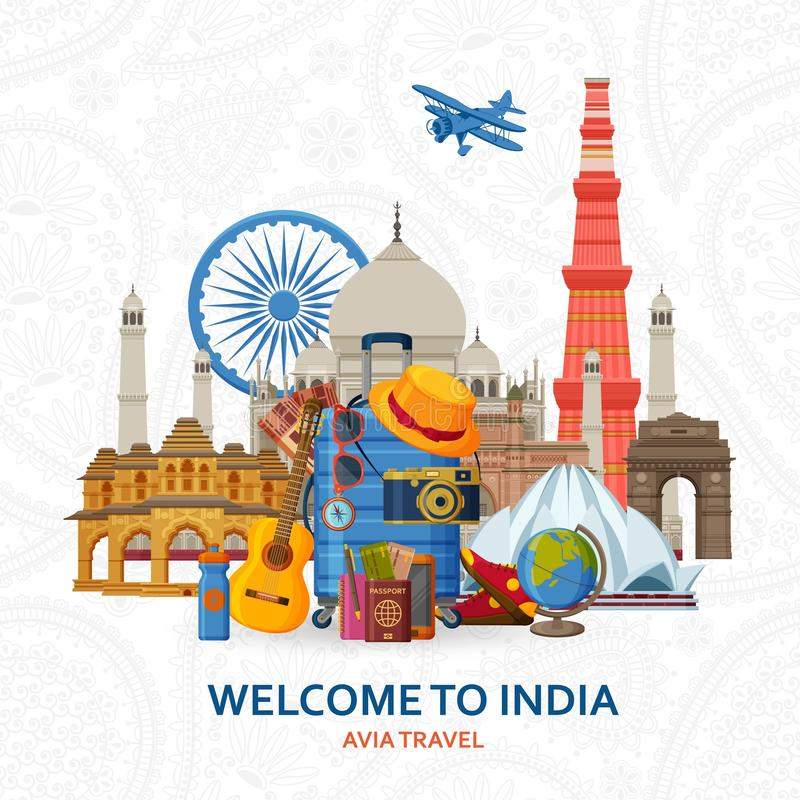 Travel in India concept. Indian most famous sights set. Architectural buildings. Tourist background with suitcases. Sunglasses, hat, camera and flip. Flying royalty free illustration