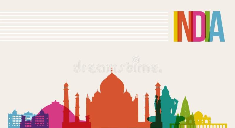 Travel India destination landmarks skyline background. Travel India famous landmarks skyline multicolored design background. Transparency vector organized in stock illustration