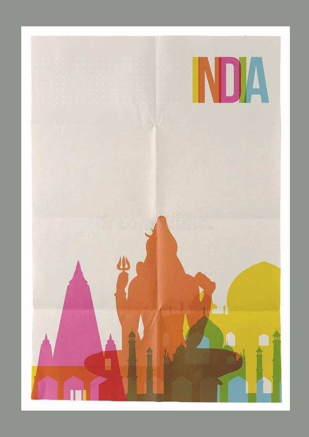 Travel India landmarks skyline vintage poster. Travel India famous landmarks skyline on vintage paper sheet poster design background. Vector organized in layers royalty free illustration