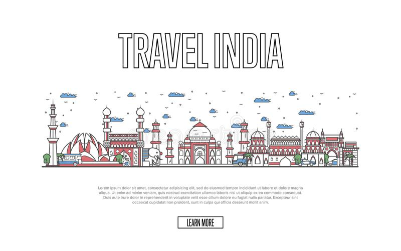Travel India poster in linear style. Travel India poster with architectural attractions in linear style. Worldwide traveling and time to travel concept. Indian royalty free illustration